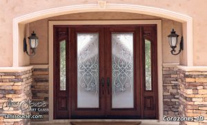 Double Entry Doors Etched Glass Tuscan Decor Wrought Iron Mediterranean