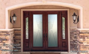 modern entry doors glass etching angled design sans soucie