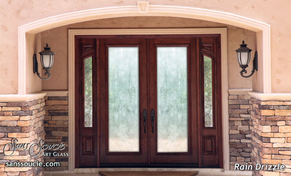 Rain drizzle 3d etched glass door contemporary design glass for Types of front door glass