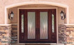 Double Entry Doors Etched Glass Modern Design Sleek Arcs Contemporary Design