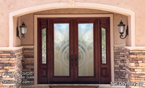 Exterior Glass Doors Etched Glass Modern Design Art Decor Style Geometric