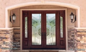Double Entry Doors Etched Glass Modern Sans Soucie