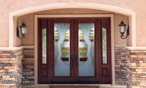 Double Entry Doors Etched Glass Eclectic Style Rustic Decor Waves
