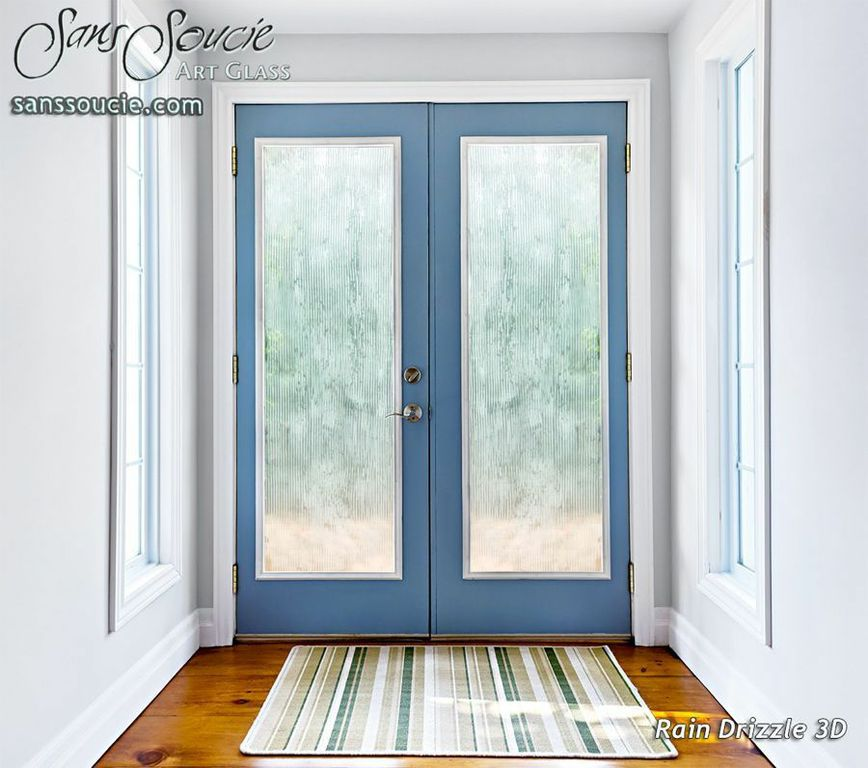 Rain Drizzle 3d Etched Glass Door Contemporary Design Glass