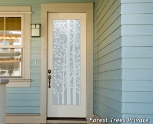Forest Trees 1D Private Etched Glass Door