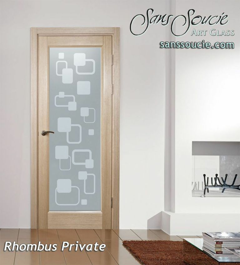 Rhombus Modern Design Interior Etched Glass Doors