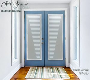 double entry doors frosted glass modern decor cascading patterns sleek bands sans soucie