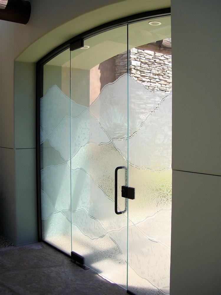 Abstract Hills Frameless Glass Doors Sans Soucie