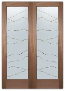 Abstract Hills Front Double Doors with Glass Etching Rustic Design