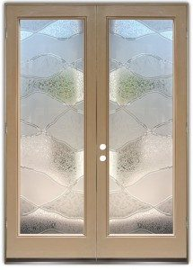 double interior glass doors frosted glass hills mountains rustic decor