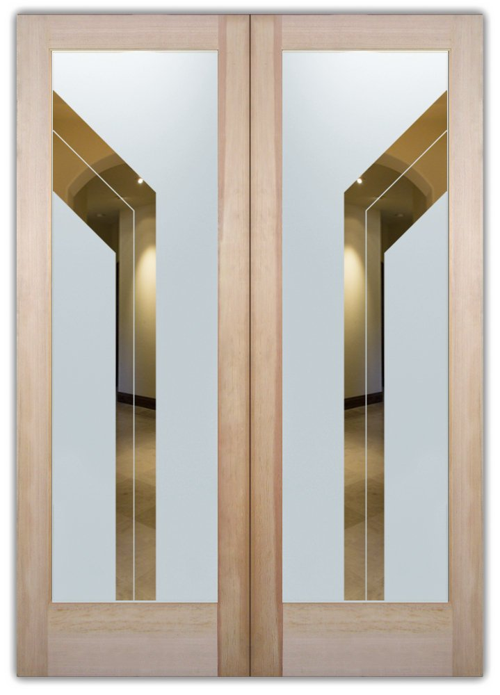double entry doors frosted glass sleek lines geometric shapes modern decor sans soucie angled bands