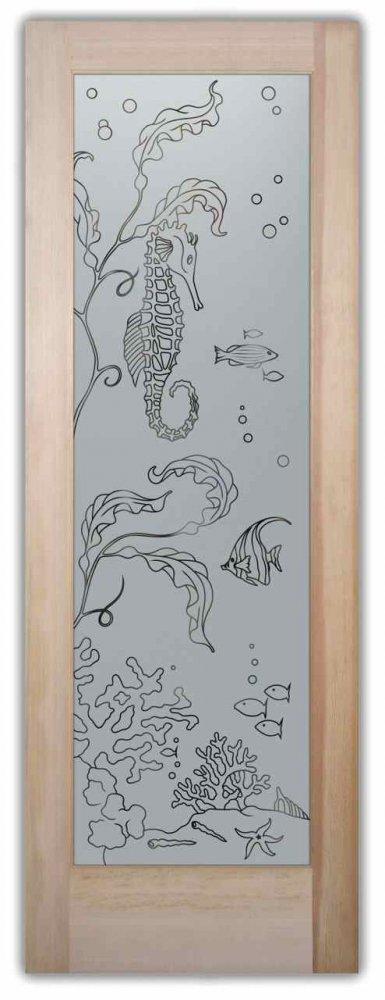 Aqua Seahorse Pinstripe Pantry Door Sans Soucie