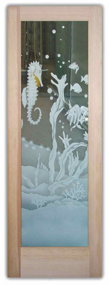 glass front doors etched glass beach decor oceanic scene tropical life seahorse fish
