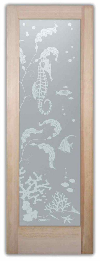 interior glass door frosted glass coastal decor seahorse ocean seaweed Aquarium Seahorse Sans Soucie
