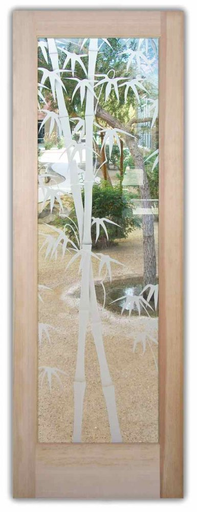 glass front doors etched glass asian decor bamboo shoots leaves