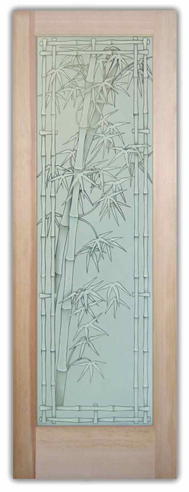 Bamboo Shoots 3d Etched Glass Doors Asian Decor