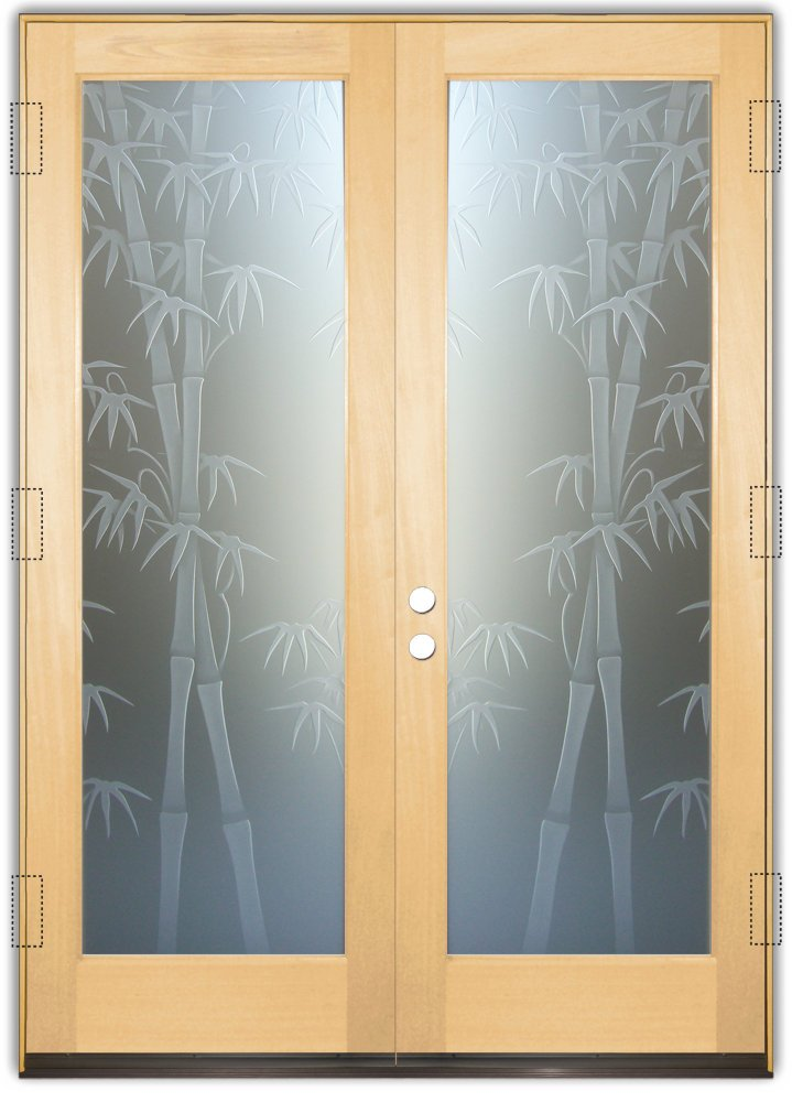 Glass Front Doors Etched Glass Asian Decor Bamboo Shoots Foliage