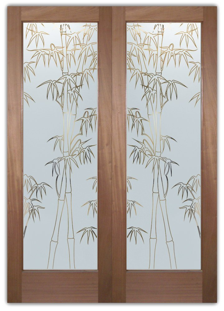 Bamboo shoots front doors with glass etching asian decor for Etched glass entry doors