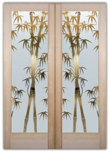 double entry doors custom glass natural design asian style sans soucie bamboo shoots
