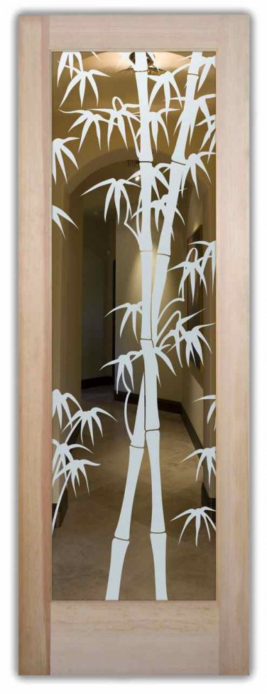 interior doors with glass etching etched glass designs Asian decor nature wooden leaves bamboo shoots sans soucie