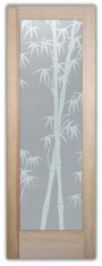 Interior Glass Doors Etched Glass Asian Style outdoors nayure Bamboo Shoots Sans Soucie