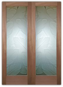Glass Front Doors Etched Glass Tropical Decor Banana Leaves Foliage