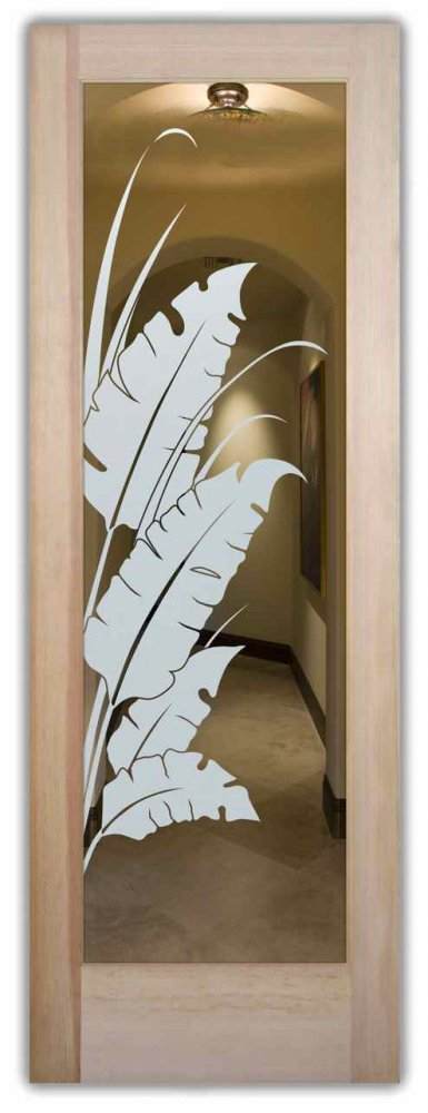 interior doors with glass etching frosted glass tropical style leafy foliage banana leaves sans soucie