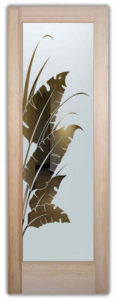 glass entry doors frosted glass leafy natural tropical design sans soucie banana leaves & reeds