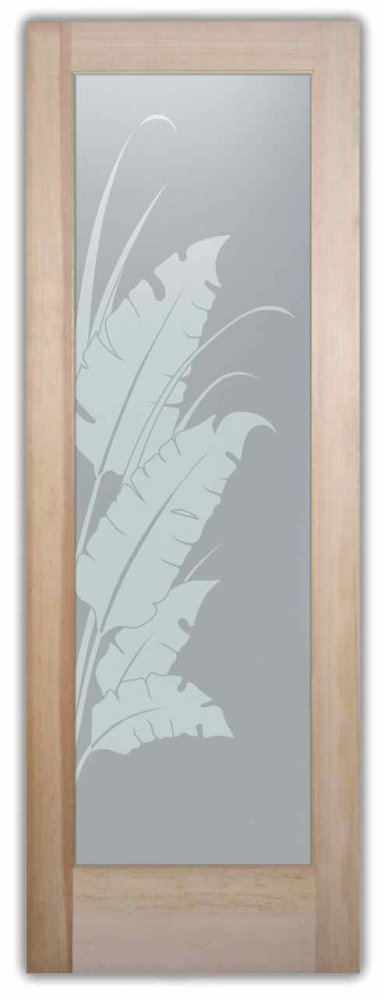 Interior Glass Doors frosted glass tropical style foliage nature banana leaves & reeds sans soucie