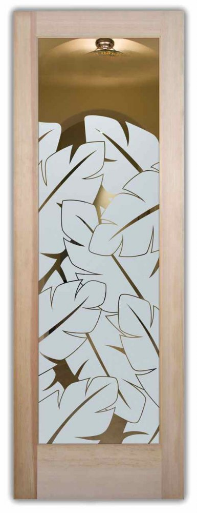 interior doors with glass frosted glass tropical style foliage nature plant life banana leaves ll sans soucie