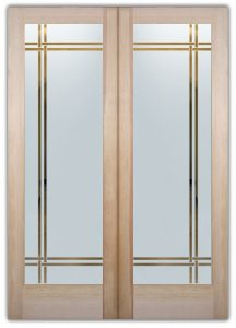 double entry doors sandblasted glass geometric lines frosted glass modern design sans soucie bands