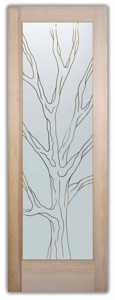Barren Branches Front Doors with Glass Etching Rustic Decor