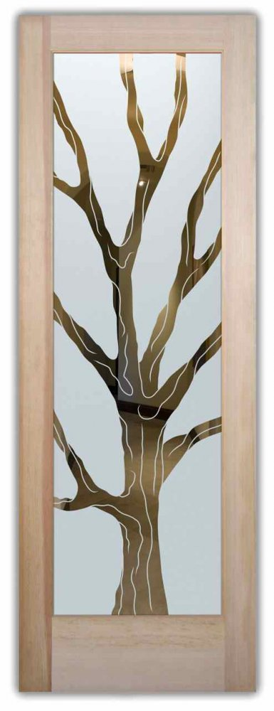 glass doors etched glass designs trees wooden style rustic style sans soucie barren branches