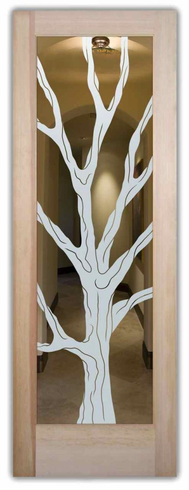 interior doors with glass etching sandblasted glass rustic decor tree wooden barren branches sans soucie