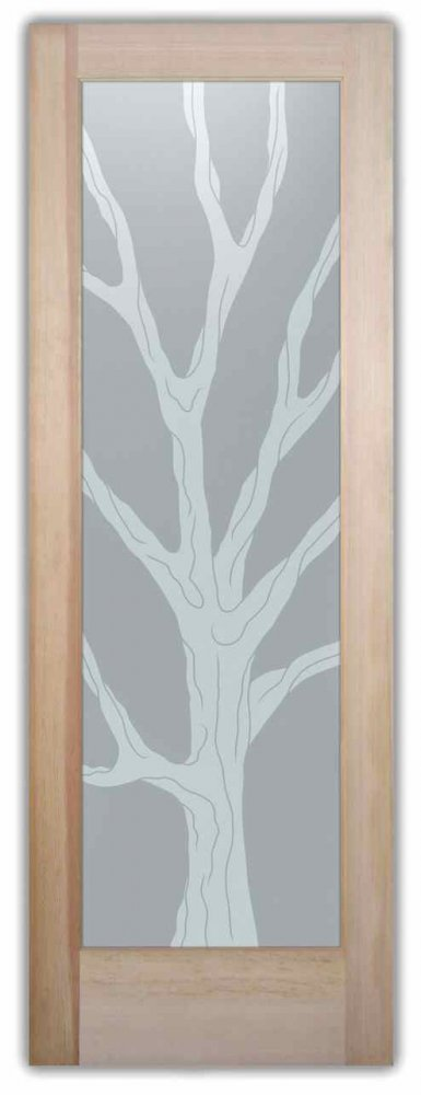 Interior Glass Doors Etched Glass rustic Decor Tree wooden Barren Branches Sans Soucie