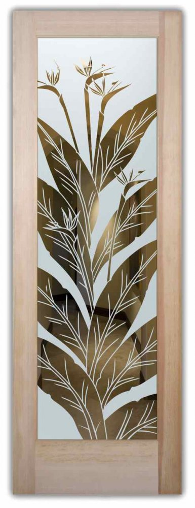 interior glass door frosted glass beautiful leaves natural outdoors tropical style sans soucie bird of paradise