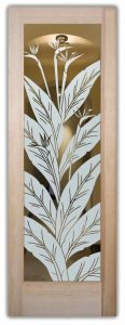 interior glass doors glass etching tropical style plant life leaves bird of paradise sans soucie