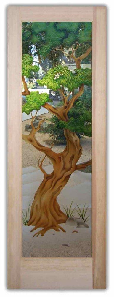 Bonsai 3D Painted Clear Glass Entry Door by Sans Soucie