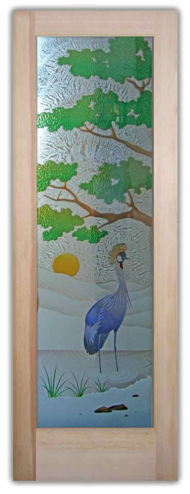Bonsai African Crane Glass Entry Doors by Sans Soucie