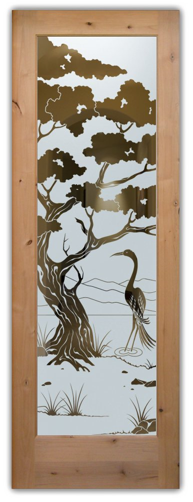 interior glass doors frosted glass birds leafy tree outdoors asian decor sans soucie bonsai egret