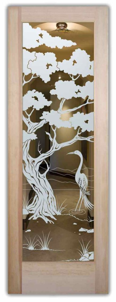 interior doors with glass etching custom glass asian decor trees birds bonsai egret sans soucie