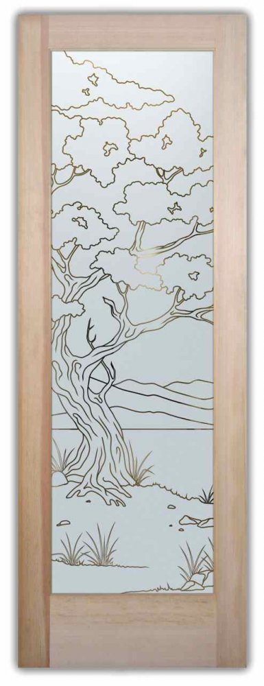 Bonsai Front Doors with Glass Etching Asian Design