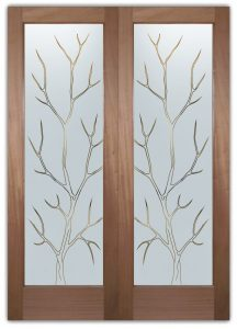 Branch Out Front Double Doors with Glass Etching Rustic Design