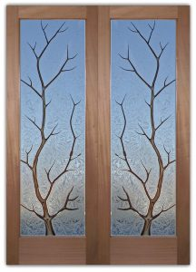 Glass Front Doors Etched Glass Rustic Decor Branches Western Decor