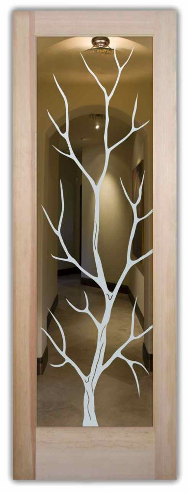 interior doors with glass etching custom glass rustic decor trees wooden nature branch out sans soucie