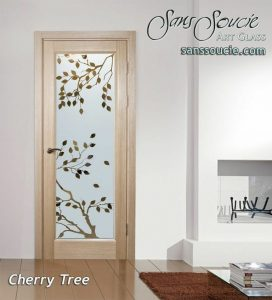 interior frosted glass doors cherry tree asian decor sans soucie