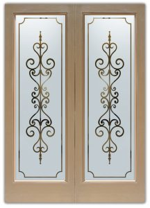 exterior glass doors frosted glass wrought iron motif moroccan designs tuscan style etched glass carmona