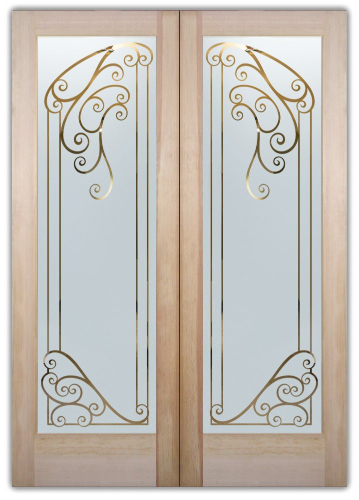Castello etched glass front doors mediterranean decor for Etched glass entry doors