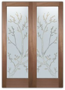 Cherry Blossom Front Doors with Glass Etching Asian Decor
