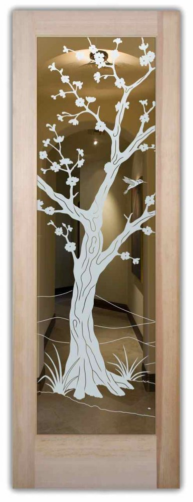 Cherry Blossom Iii Interior Doors With Glass Etching Asian
